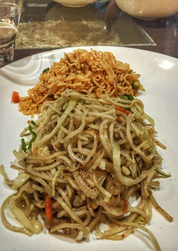 Spicy Hakka noodles and Veg Fried Rice